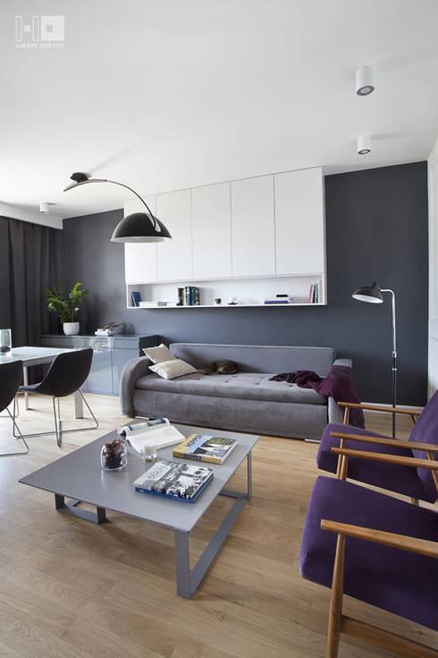 Realizacja projektu mieszkania / Warszawa: styl , w kategorii Salon zaprojektowany przez Hubert Dziedzic Architektura Wnętrz