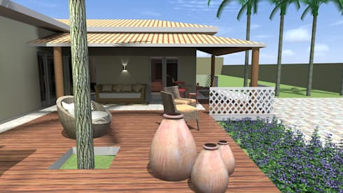 Solário em deck de madeira : Jardins campestres por Arquiteto Lucas Lincoln