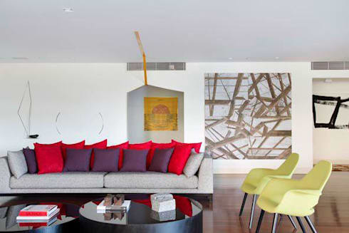 Apartamento Estrada da Gávea: Salas de estar modernas por oficina p:ar - projetos de arquitetura