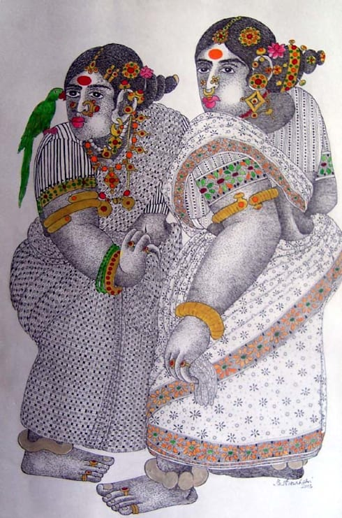 Women with Parrot 4:  Artwork by Indian Art Ideas