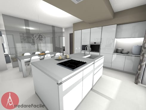 Cucina moderna con isola di arredarefacile by id solutions - Cucina moderna con isola ...