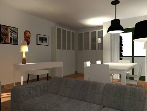 Sala de Estar e Jantar: Salas de estar escandinavas por A.28 - Arquitectura e Reabilitação de Interiores