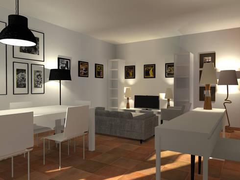 Sala de Estar e Jantar: Salas de jantar escandinavas por A.28 - Arquitectura e Reabilitação de Interiores