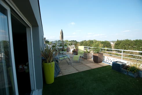 am nagement d une terrasse plein sud de 45 m por vertigo jardins homify. Black Bedroom Furniture Sets. Home Design Ideas