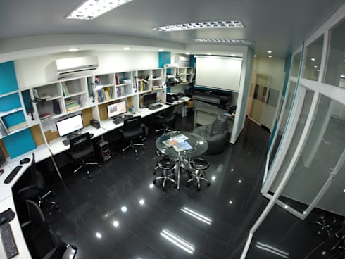 Área de  Trabajo : Salas de entretenimiento de estilo moderno por 5D Proyectos