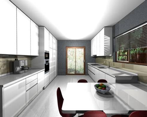 PROJETO AV MONTEVIDEU PORTO: Cozinhas modernas por 3dogma mobiliário de cozinha