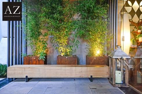 Bilheteria - Casa Cor Goias 2015: Jardins rústicos por TOLENTINO ARQUITETURA E INTERIORES