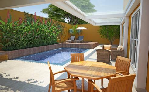 casa quintal da toscana: Casas modernas por GNC arquitetura e interiores
