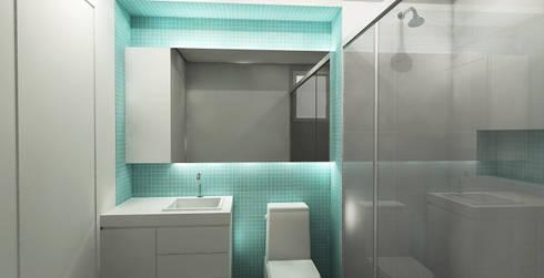 APARTAMENTO URBANO: Banheiros modernos por Maxma Studio