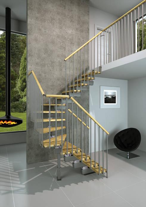 Tech Natural en L: Vestíbulos, pasillos y escaleras de estilo  por Rintal