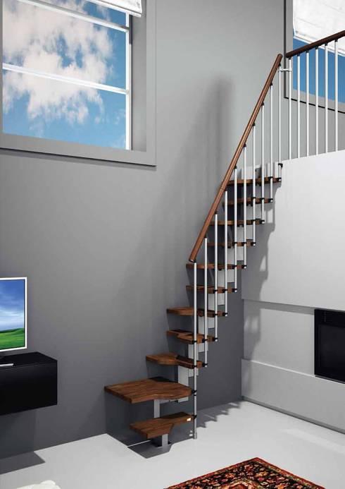 Compacta para solucionar problemas de espacio : Vestíbulos, pasillos y escaleras de estilo  por Rintal