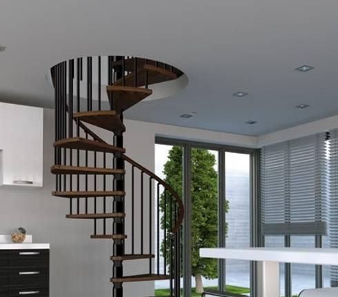 En madera nogal para tus espacios únicos : Vestíbulos, pasillos y escaleras de estilo  por Rintal