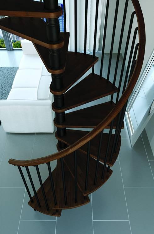 3 escalones por cada 90° : Vestíbulos, pasillos y escaleras de estilo  por Rintal