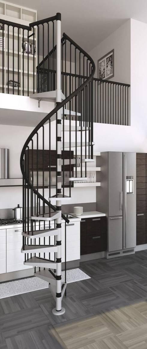 Estilo contemporáneo y elegante : Vestíbulos, pasillos y escaleras de estilo  por Rintal