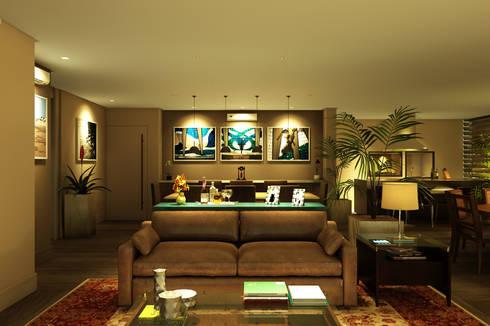 Visão do ambiente de estar para a sala de jantar: Salas de jantar ecléticas por Eduardo Novaes Arquitetura e Urbanismo Ltda.
