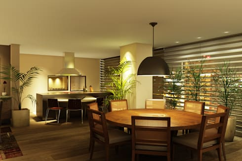 Espaço Gourmet: Cozinhas ecléticas por Eduardo Novaes Arquitetura e Urbanismo Ltda.