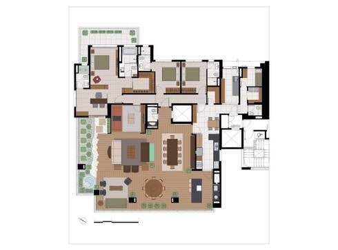Planta da personalização: Casas ecléticas por Eduardo Novaes Arquitetura e Urbanismo Ltda.