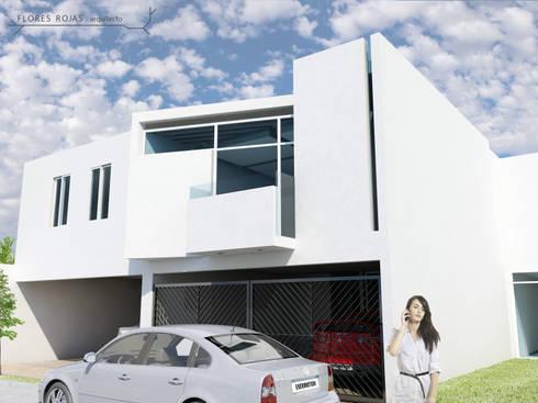 AMPLIACIÓN Y REMODELACIÓN CASA EL DORADO. Fachada de ampliación:  de estilo  por Flores Rojas Arquitectura