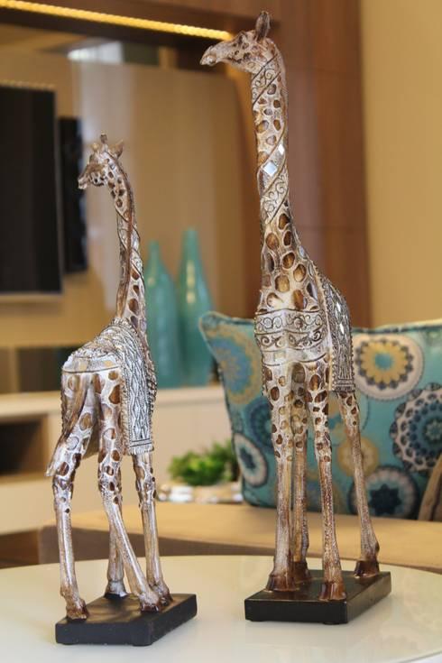 Sala de estar e jantar – Inspiração Turquesa: Sala de estar  por Daiana Oliboni  Design de Interiores