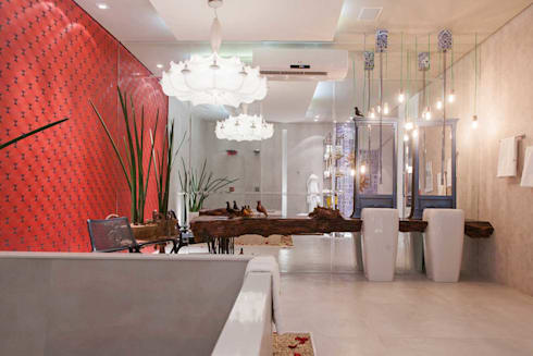 Sala de Banho Casa Cor Mato Grosso 2014: Banheiros modernos por Marcus Leão Arquitetura