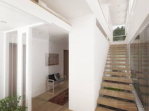Casa – Taller : Pasillos y vestíbulos de estilo  por RRA Arquitectura
