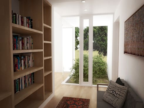 Casa – Taller : Salas / recibidores de estilo minimalista por RRA Arquitectura
