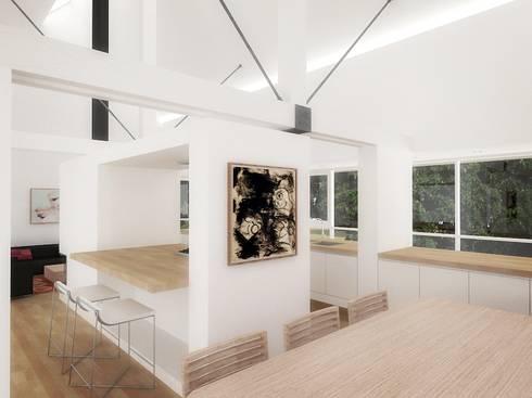 Casa – Taller : Comedores de estilo minimalista por RRA Arquitectura