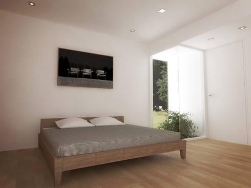 Casa – Taller : Cuartos de estilo minimalista por RRA Arquitectura