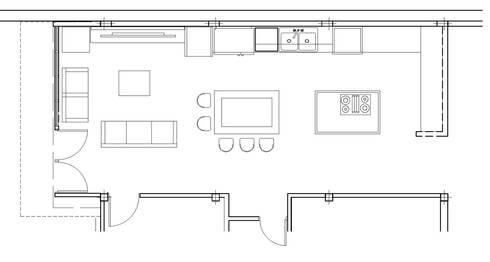 Planta area de cocina y family room integrado: Cocina de estilo  por Constructora G-9
