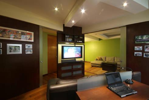 Departamento Viniegra: Salas multimedia de estilo moderno por DIN Interiorismo