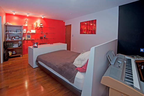 Habitación MILLA: Recámaras de estilo moderno por DIN Interiorismo