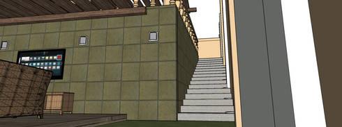 vista escaleras: Terrazas de estilo  por PRISMA ARQUITECTOS