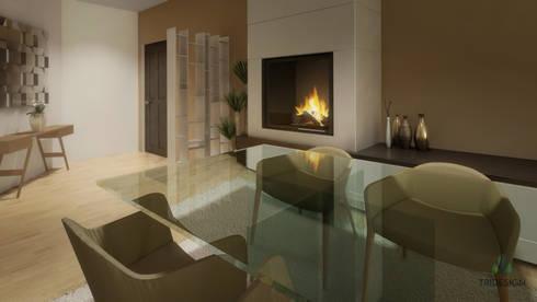 Imagens 3D / Design Interiores: Sala de jantar  por Tridesign