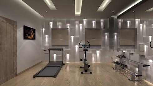 RESIDENTIAL INTERIORS AT TRICHY. (www.depanache.in): modern Gym by De Panache  - Interior Architects