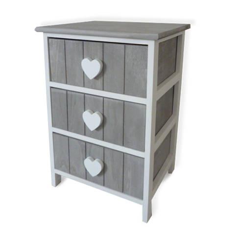 Mobiletto shabby 3 cassetti 40x29x58h cm maniglie a cuore: Casa in ...