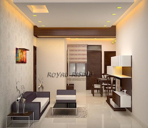 Feel Royal & luxury living in compact & narrow flat space.: modern Living room by Royal Rising Interiors