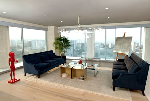 Sala: Salas de estilo ecléctico por MAAD arquitectura y diseño