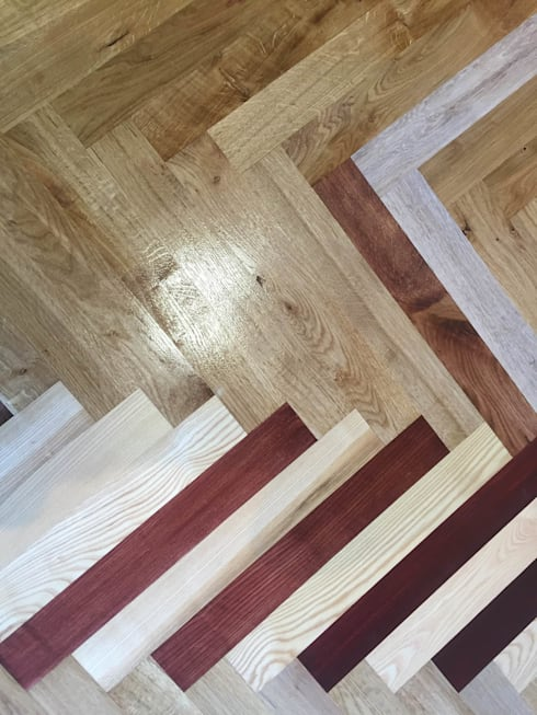Colored wood flooring in Glasgow and Edinburgh showrooms :  Walls & flooring by TF