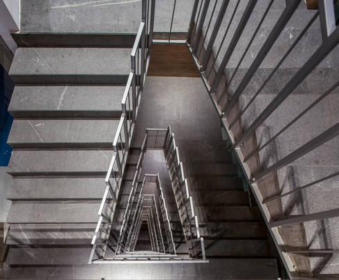 Colegio de la Imagen Publica: Pasillos y recibidores de estilo  por Serrano Monjaraz Arquitectos