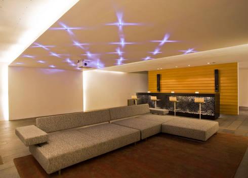 Casa LB : Salas multimedia de estilo moderno por Serrano Monjaraz Arquitectos
