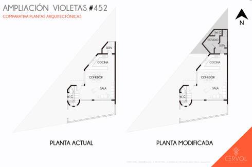 Plantas Arquitectónicas: Casas de estilo minimalista por CÉRVOL