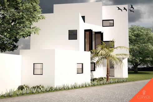 Fachada Norte: Casas de estilo minimalista por CÉRVOL