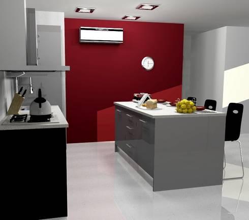 COCINA ABIERTA: Cocinas de estilo moderno por ARCE MOBILIARIO