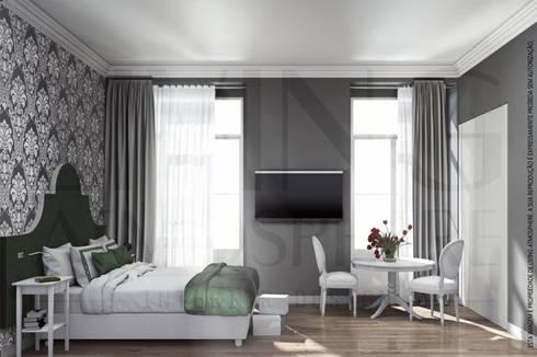 Quarto de Hotel 2: Quartos modernos por Living Atmosphere