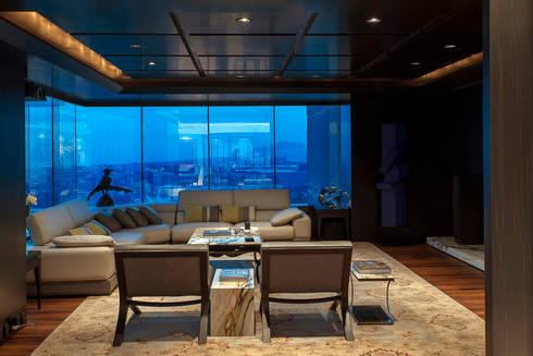 Departamento ASL : Salas de estilo moderno por ARCO Arquitectura Contemporánea