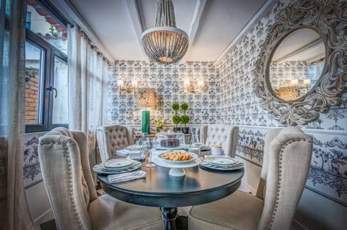 Sala – Living Room – Salon: Sala de jantar  por Escolha Viva, Lda