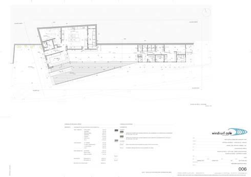 Planta do edifício principal: Espaços de restauração  por Pedro Ferro Alpalhão Arquitecto