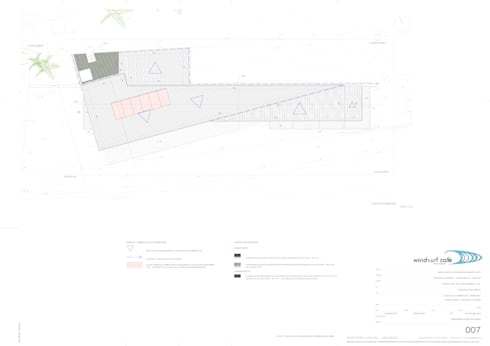Planta da cobertura do edifício principal: Espaços de restauração  por Pedro Ferro Alpalhão Arquitecto