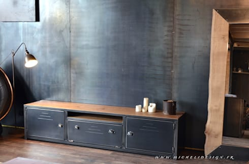 meubles bois acier sur mesure par micheli design homify. Black Bedroom Furniture Sets. Home Design Ideas