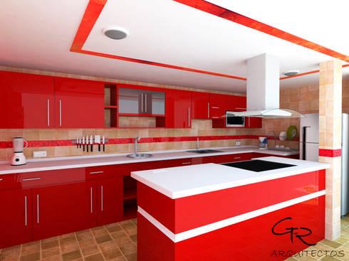 Cocina Espinoza: Cocinas de estilo moderno por GT-R Arquitectos